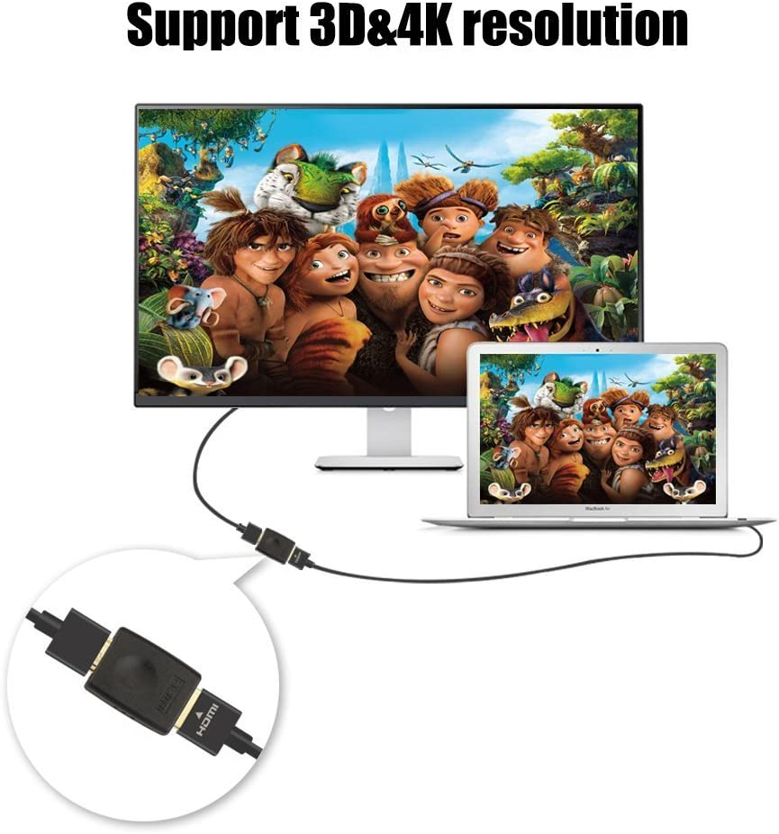 VCE HDMI Female to Female Coupler Gold Plated High Speed HDMI Adapter Double Female HDMI Connector Support 3D 4K 1080P HDMI Cable Extender