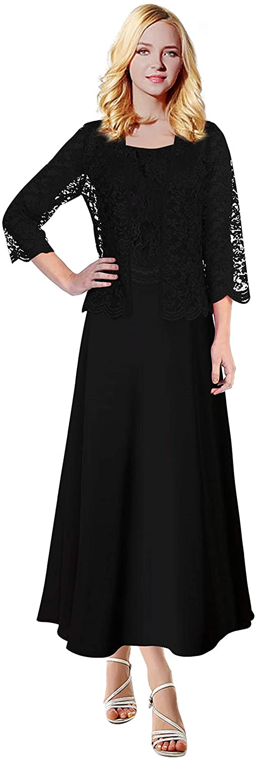 e4fbba43b0 MenaliaDress Long Chiffon Two Piece Set Mother of Groom Dress with Lace  Jacket M108LF at Amazon Women s Clothing store