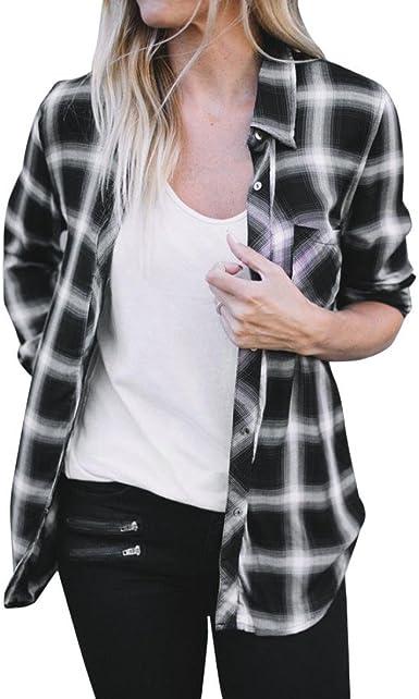 Culater® Camisa a Cuadros Mujer Manga Larga Blusa (S, Blanco): Amazon.es: Ropa y accesorios