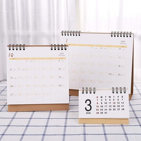 Gwxevce Simple Desktop Standing Paper 2020 Doppia Bobina Calendario Promemoria Pianificazione giornaliera Pianificatore di tabelle Agenda annuale Desk Organizer