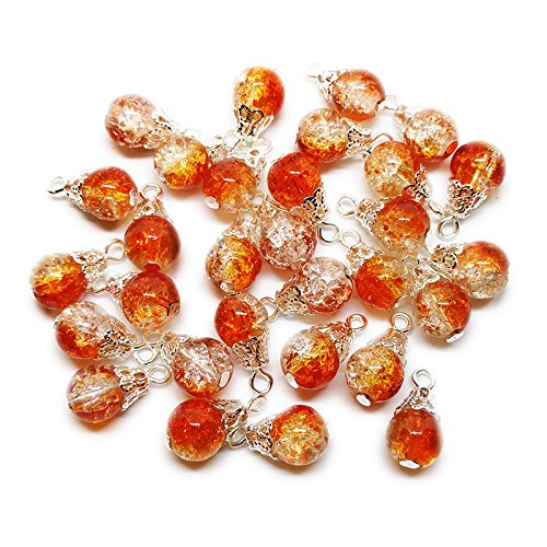- 30pcs Handcrafted Crackle Glass Beads Drops w/Silver Wire & Bead Cap for Jewelry Making by Beading Station (Orange)