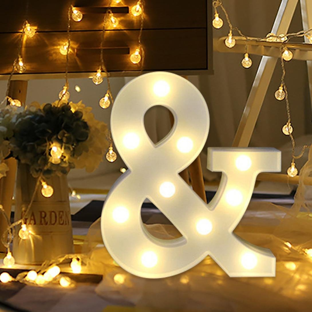 /& erthome 26 English Alphabet Lights LED Light Up White Plastic Letters Standing Hanging A-Z Home Decor Wall Light