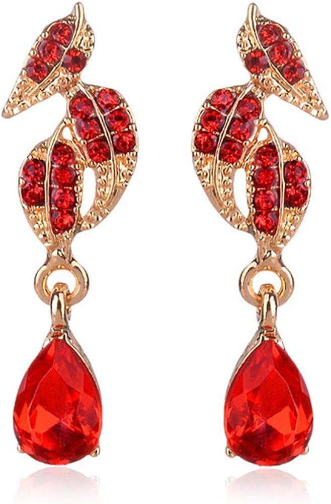 RRWLPendiente de 32 tipos de piedra de cristal rojo con incrustaciones geométricas pendientes colgantes de perlas de imitación pendientes de diamantes de imitación decoración para regalo de mujer