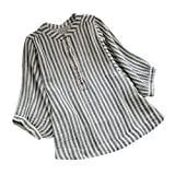 XOWRTE Women's Striped Loose Button Down Linen Fall Long Sleeve Tunic Shirt Blouse Tops