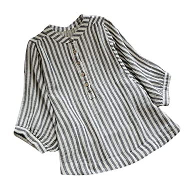 bc15fe2877 LisYOU Womens Blouses ❤❤ Button Down Shirts Vertical Stripes Linen V-Neck T-