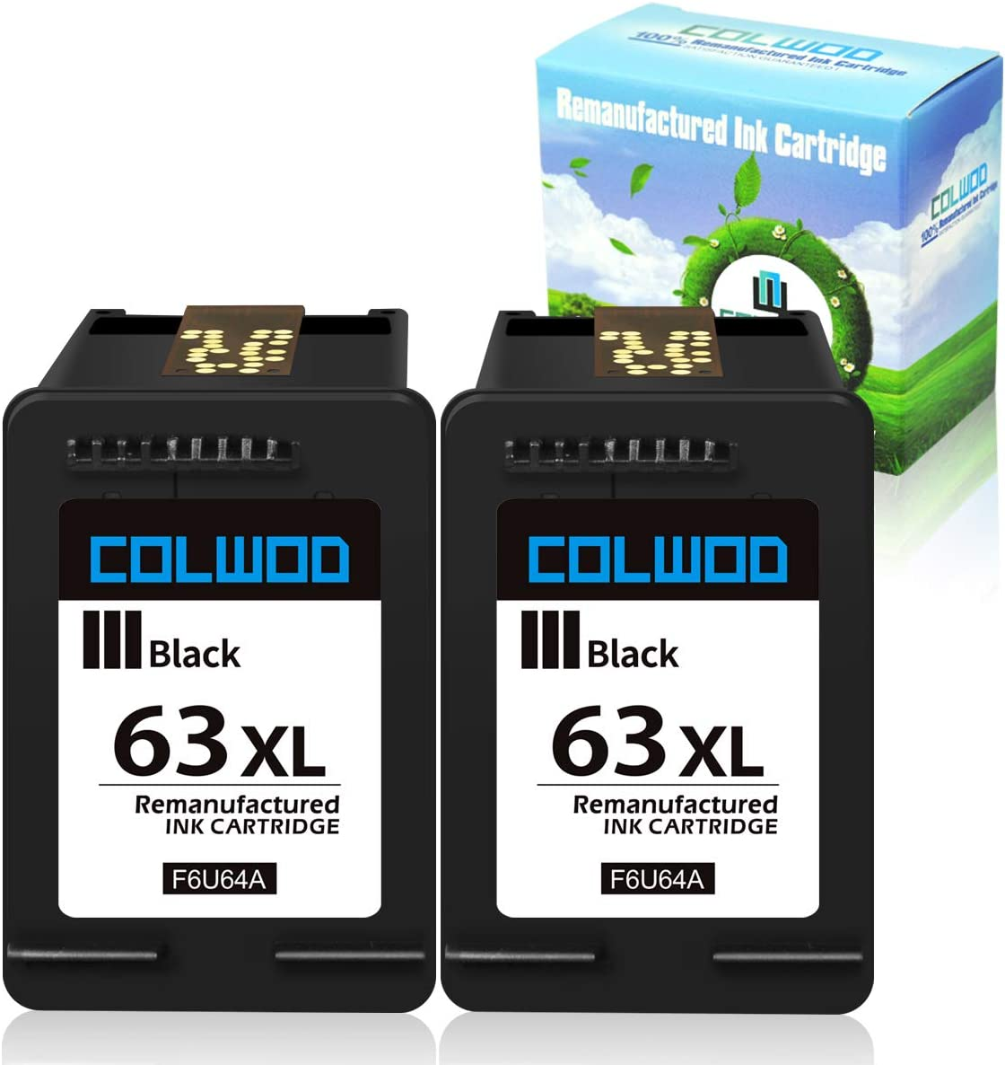 CLOWOD Re-Manufactured Ink Cartridge Replacement for HP 63 63XL use with HP DeskJet 1122 2132 3636 HP Envy 4525 4528 OfficeJet 3830 5255 5258 5252 3832(2 Black)