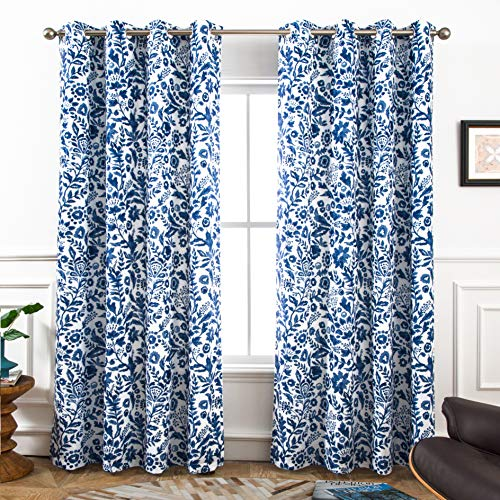 DriftAway Julia Watercolor Blackout/Room Darkening Grommet Lined Thermal Insulated Energy Saving Window Curtains, 2 Layer, Set of Two Panels, Each 52