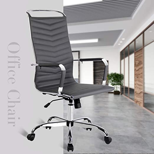 Elecwish Adjustable Office Executive Swivel Chair High Back Padded Tall Ribbed Pu Leather, Wheels Arm Rest Computer Chrome Base Home Furniture ...