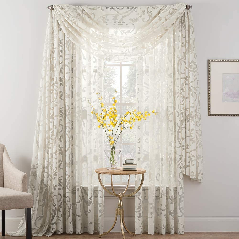 SmartSheer Burnout Voile Sheer Curtain Panel, Natural, 84