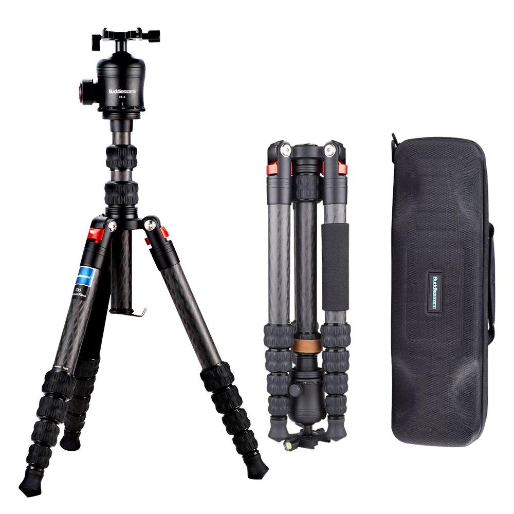 Buddiesman Carbon Fiber Tripod with Ball Head Compact Portable Travel for Canon Sony Nikon Samsung Panasonic Olympus Kodak Fuji DSLR and Video Camera (C25)