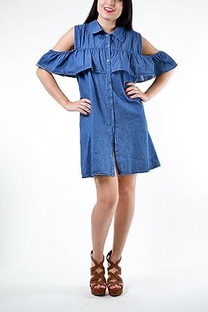 249380e954f New Women Ladies Cut Out Col Shoulder Denim Look Peplum Frill Mini Button Up  Swing Dress (S M (8-10))  Amazon.co.uk  Clothing
