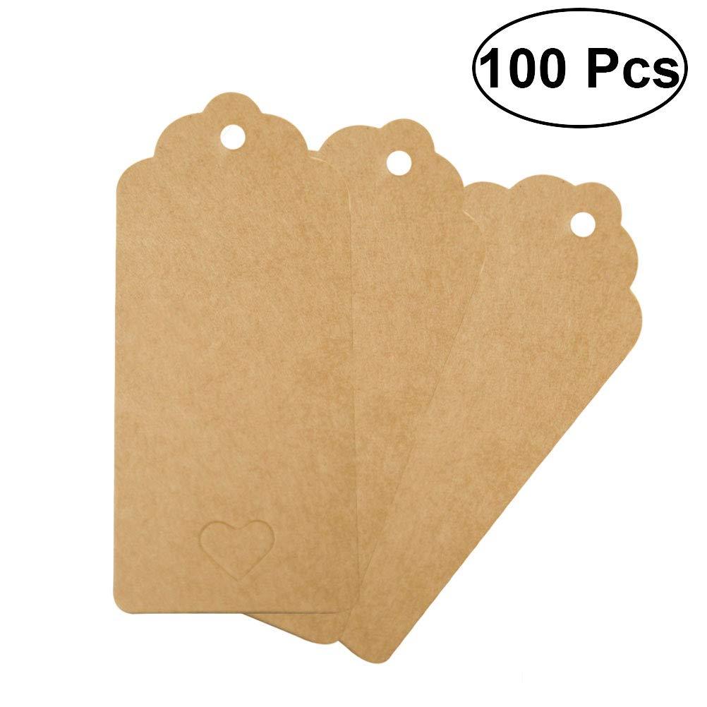 Healifty Carta di Carta Artigianale 100 Pezzi/Pacco 9x4cm Carta Quadrato Bianco Carta Tag con Pizzo e Forma di Cuore per i Tag Regalo (Buff)