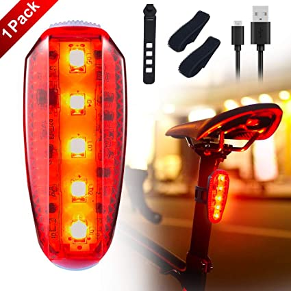 COV LED Safety Light Clip on Bike Tail Light USB Rechargeable Safety  Warning Light for Bicycle Strobe Rear Light,Runners,Joggers,Kids,