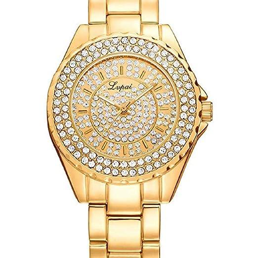 Scpink Relojes de Cuarzo para Mujeres, Relojes de Damas de Cristal Liquidación Relojes de Acero