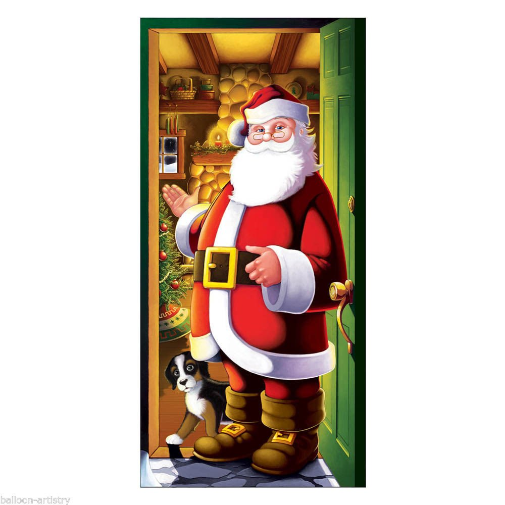 1.5m Merry Christmas Cheerful Santa Welcome Door Poster Banner Decoration