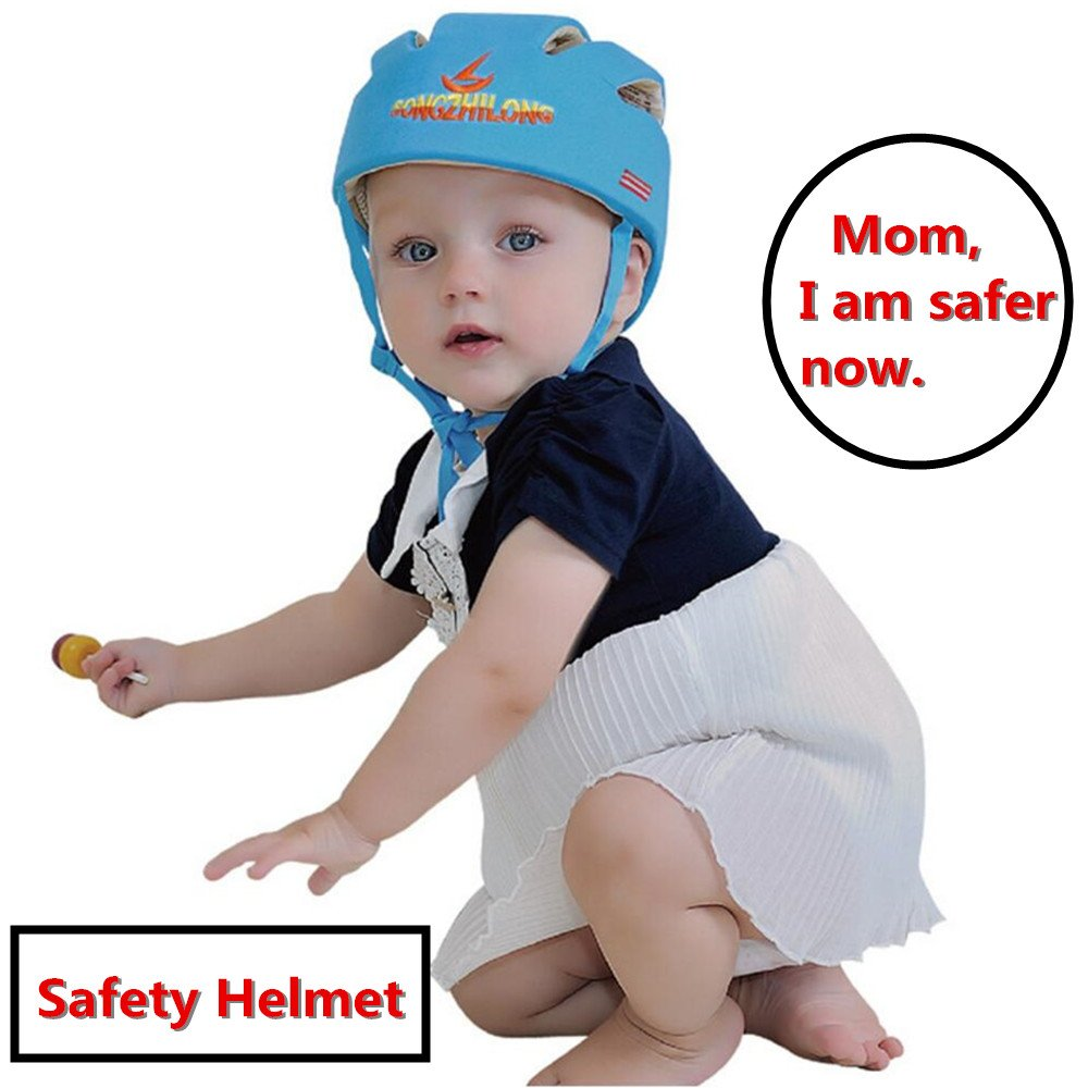 Huifen Baby Children Infant Toddler Adjustable Safety Helmet Headguard Protective Harnesses Cap Blue, Providing Safer Environment When Learning to Crawl Walk Playing Baby Infant Blue Hat (Blue) by Huifen (Image #6)