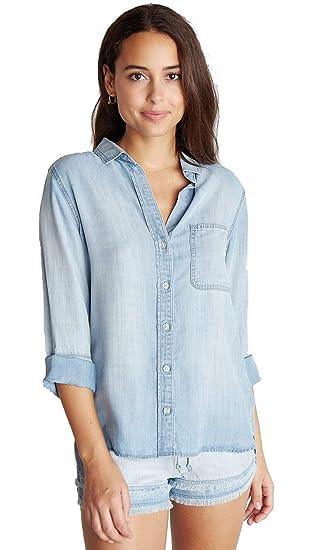 8392b58c0 Image Unavailable. Image not available for. Color: Bella Dahl Womens Shirt  Tail Tencel Button Down Blue Denim ...