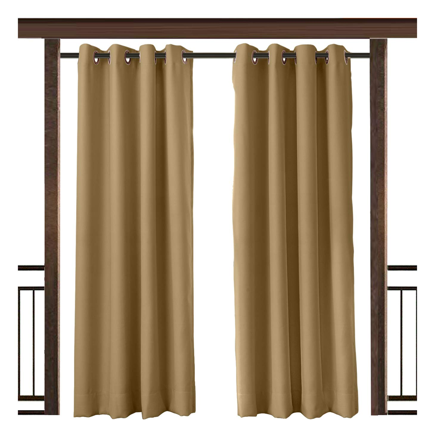 TWOPAGES Outdoor Waterproof Curtain Wheat Rustproof Grommet Drape, 150'' W x 96'' L for Front Porch Pergola Cabana Covered Patio Gazebo Dock Beach Home (1 Panel)