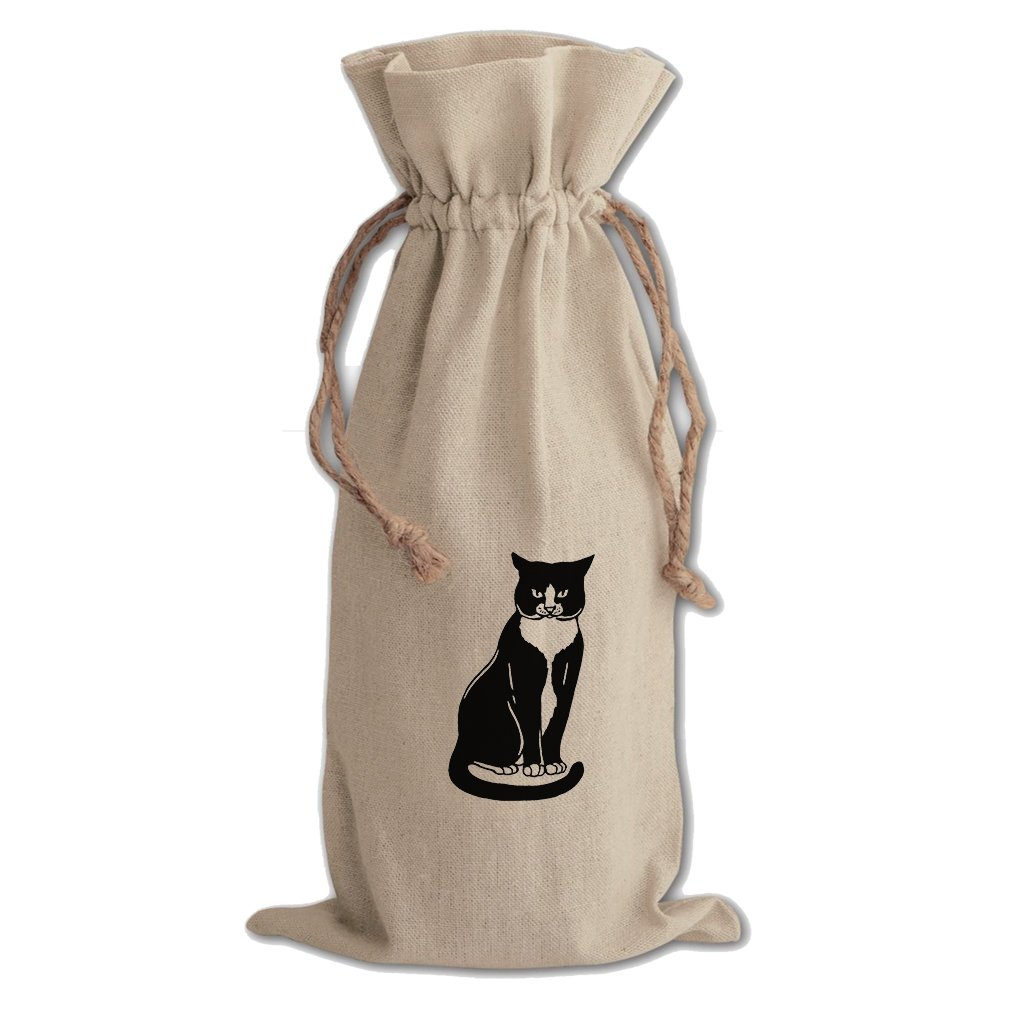 Canvas Wine Cotton Drawstring Bag Tuxedo Cat Black White #3 By Style In Print