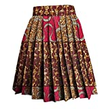Abetteric Womens Batik Party Africa Dashiki Print A-Line Vogue Pleated Skirt 15 XL