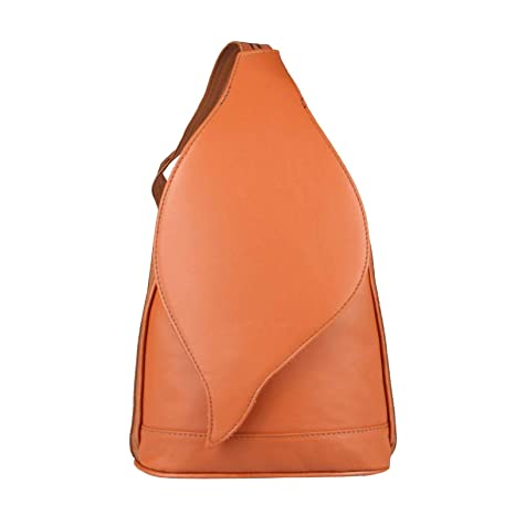 7dc09e1312263c OBC Made in Italy Damen echt Leder Rucksack Lederrucksack Tasche  Schultertasche Ledertasche Nappaleder Handtasche (Cognac