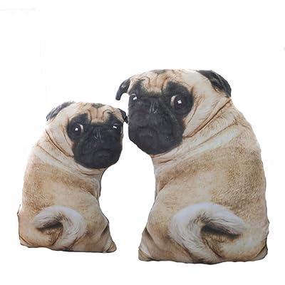 Simulation Pug Dog Plush Toys Soft Lifelike Stuffed Animals Emulational Plush Dog Pillow Dolls Sofa Cushion Kids Girls Gift Brown: Clothing