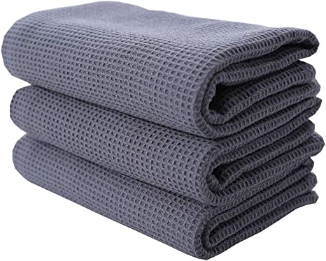 Amazon Com Rayker Classic Kitchen Towels Waffle Weave Tea Towels Best Dish Cloths 100 Cotton Vintage Design 3 Pack In Large Size 45x65cm Grey Home Kitchen