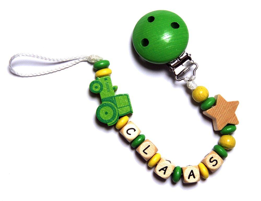 Neutral Gr/ün und Gelb mit Traktor Baby Schnullerkette mit Perlen aus Holz ARTHUR