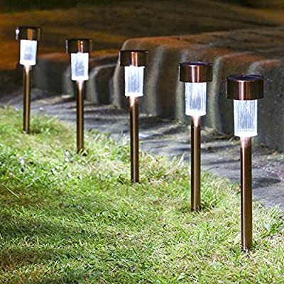 Solar Lights Outdoor,Sogrand Garden Path Light 12pcs Stainless Steel White LED Landscape Lighting for Pathway Walkway Driveway Patio
