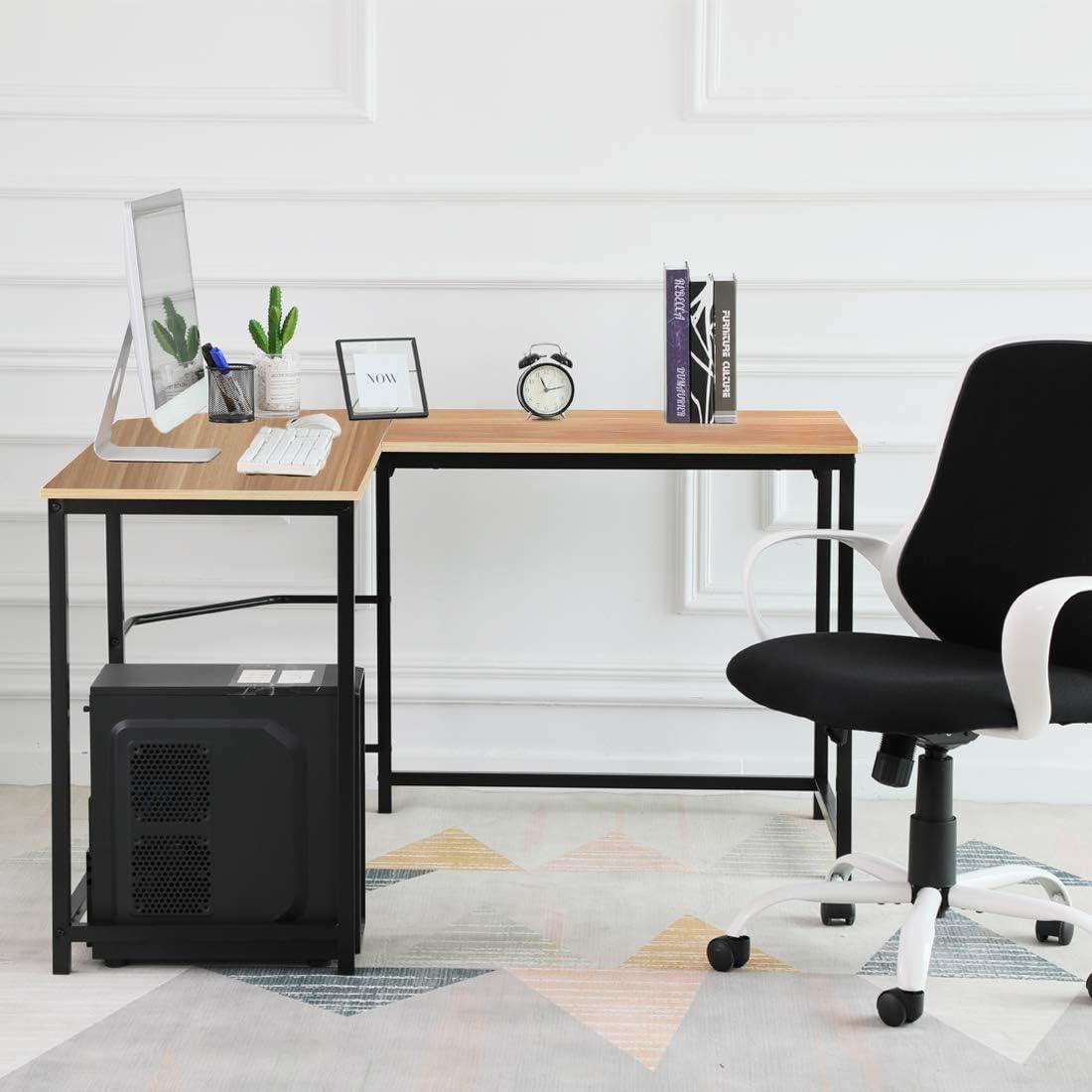 ZENSTYLE 66 x 49 L-Shaped Office Desk L Computer Corner Desks PC Latop Study Gaming Table Workstation with Wood Tabletop Metal Frame