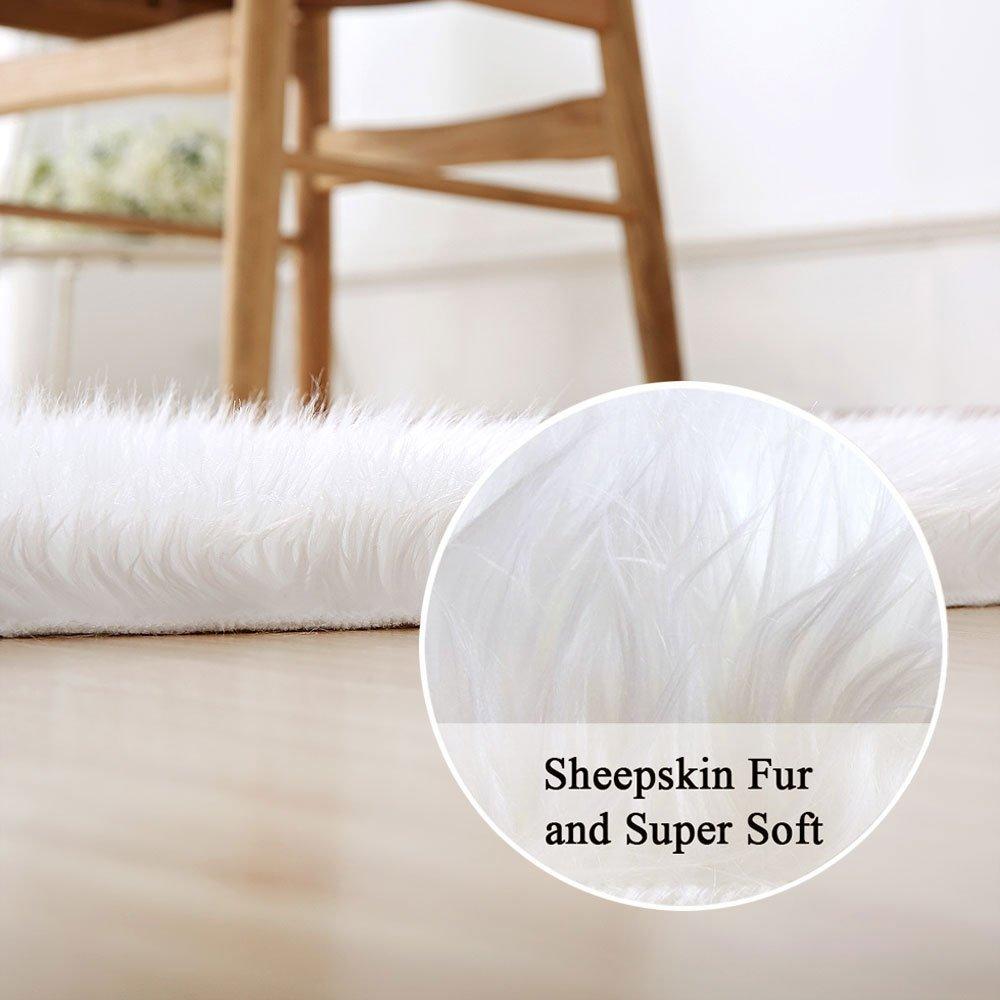 W Faux Fleece Chair Cover Seat Pad Soft Fluffy Shaggy Area Rugs longhair fur L x 23.6 x 35.4inch Cumay Faux lambskin sheepskin rug Leather Polyester lambskin imitation rug