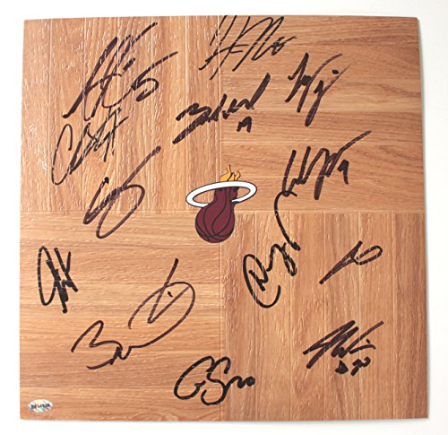 (Miami Heat 2015-16 Team Signed Autographed Basketball Floorboard Wade Bosh)
