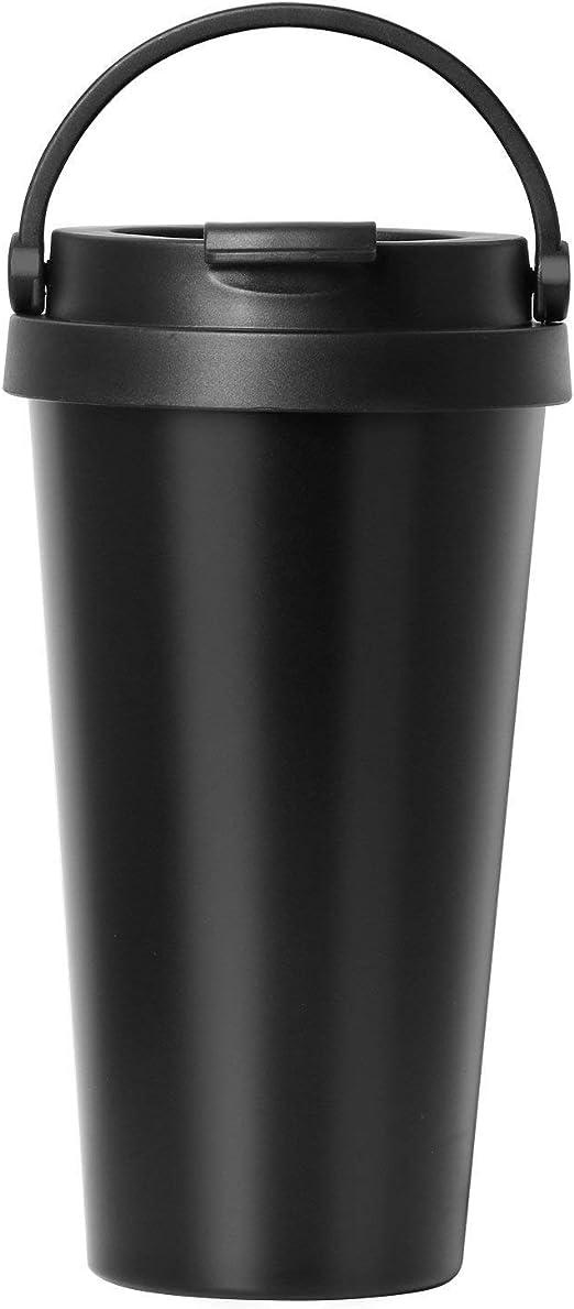 TRIXES Taza de Caf/é y Bebida Termo Viaje de Acero Inoxidable Color Negro 500ml con Asa F/ácil de Limpiar