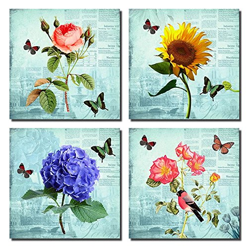 Purple Verbena Art Flower Sunflower Hydrangea Rose Floral Butterflies Canvas Wall Prints