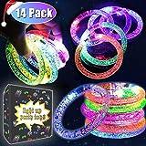 Hanakern 14 Pack LED Bracelets Fluorescence LED Multicolor Flashing Bracelet for Wedding,Birthday,Night Games Fun Events Holiday