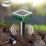 2 x VENSMILE Solar Powered Mole Repellent Gopher Repeller Vole Trap Repel ...