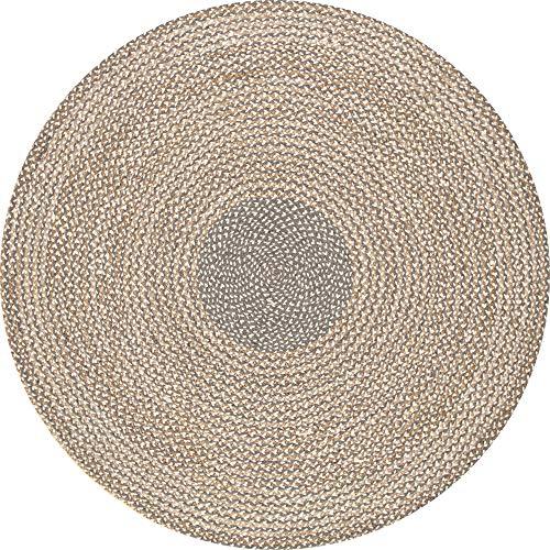 nuLOOM Draya Braided Wool Rug, 3 x 5 Oval, Grey