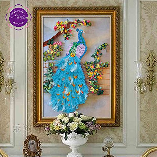 New Ribbon Embroidery Kit Handmade Peacock Oriental Wall Hanging Art Asian Decoration (No frame)