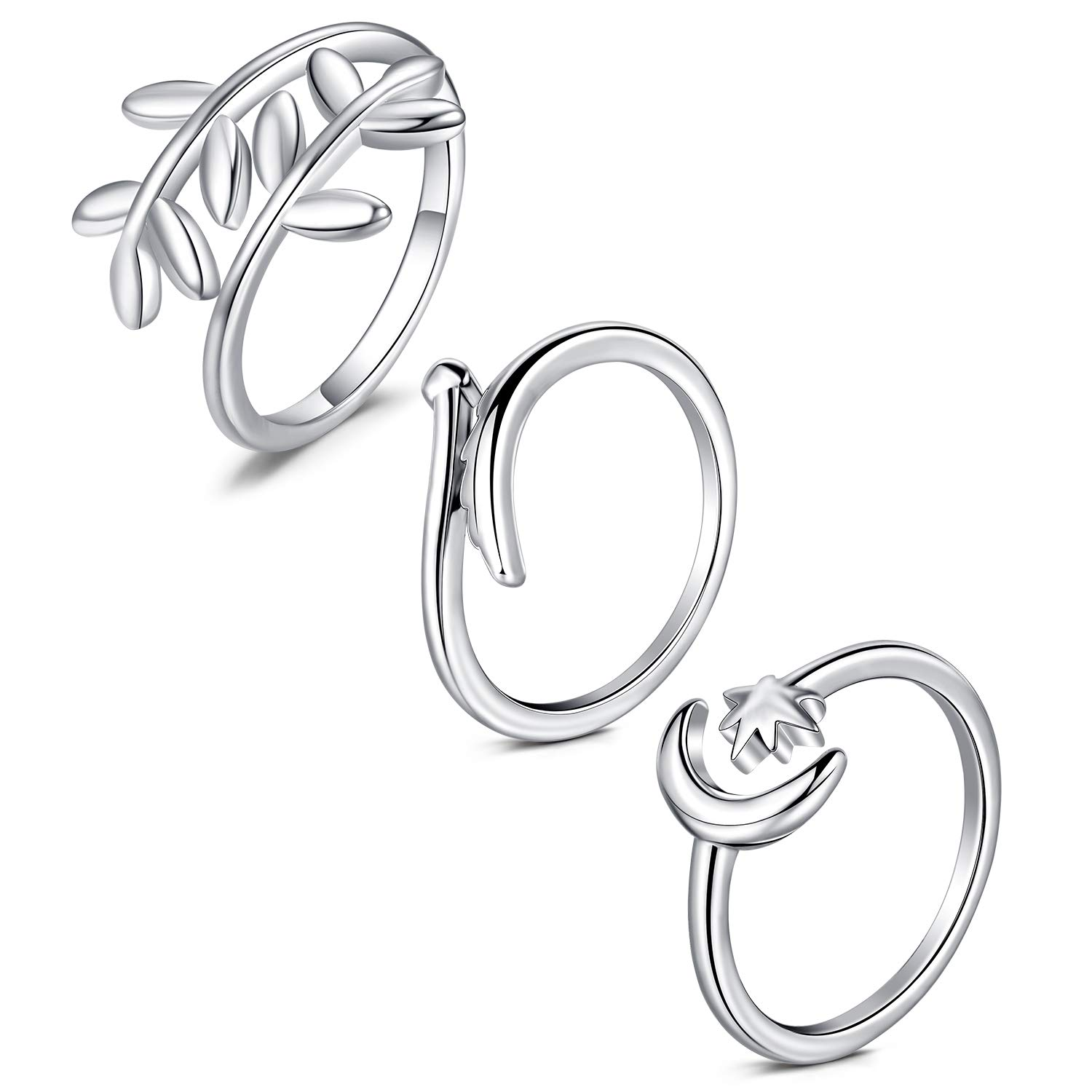 Anicina Silver Ring Open Band Toe Ring Star Moon Leaves Wing Band Open Tail Ring Set Summer Beach Jewelry Toe Finger Ring Comfort for Women Men Girls