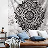 black and white bedroom Psychedelic Mandala Wall Tapestry - Yellow Pink Tapestry Boho Wall Hanging Picnic Beach Blanket Gold Bohemian Tapestry for College Dorm Girls Bedroom Living Room Home Decor (Black White, S:51''X59'')