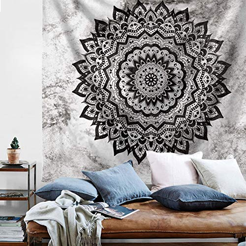 Psychedelic Mandala Wall Tapestry - Yellow Pink Tapestry Boho Wall Hanging Picnic Beach Blanket Gold Bohemian Tapestry for College Dorm Girls Bedroom Living Room Home Decor (Black White, S:51''X59'')