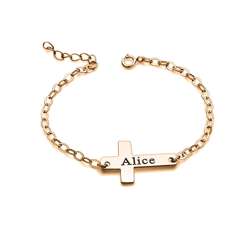 Personalized Name Sideways Cross Bracelet Gold Sterling Silver Custom Initial Ankle Bracelet Women Gifts