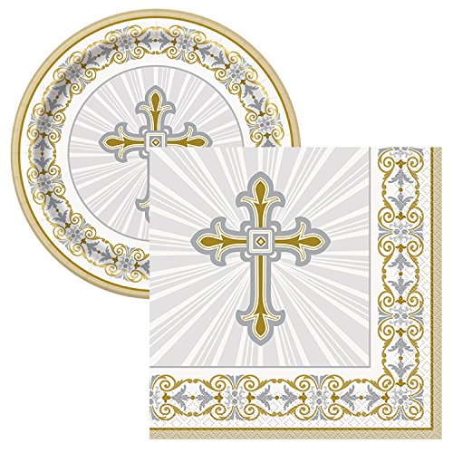 Radiant Cross Religious Celebration Party Tableware Plate and Napkin Set (Gold, Plates/Napkins)]()