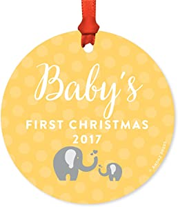 Andaz Press Custom Year Round Metal Christmas Tree Ornament, Baby's First Christmas 2020, Baby Elephant Yellow Gray, 1-Pack, Includes Ribbon and Gift Bag, Baby Shower Decorations
