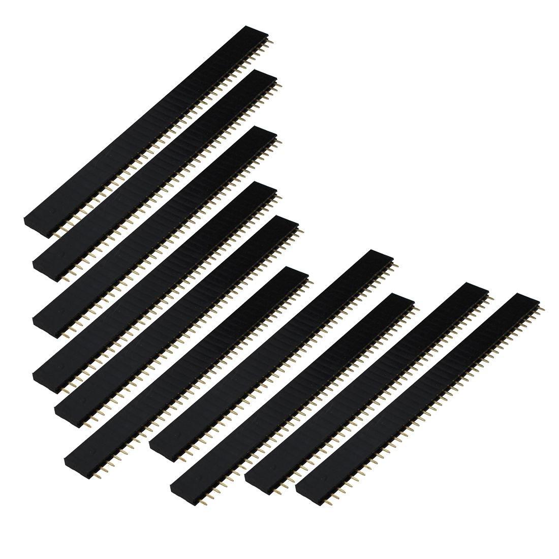 TOOGOO(R) 10X 40 Polig Female Pin Buchsenleiste Stiftleiste Header 2, 54mm Buchse Einreihig Schwarz SODIAL(R) 041860