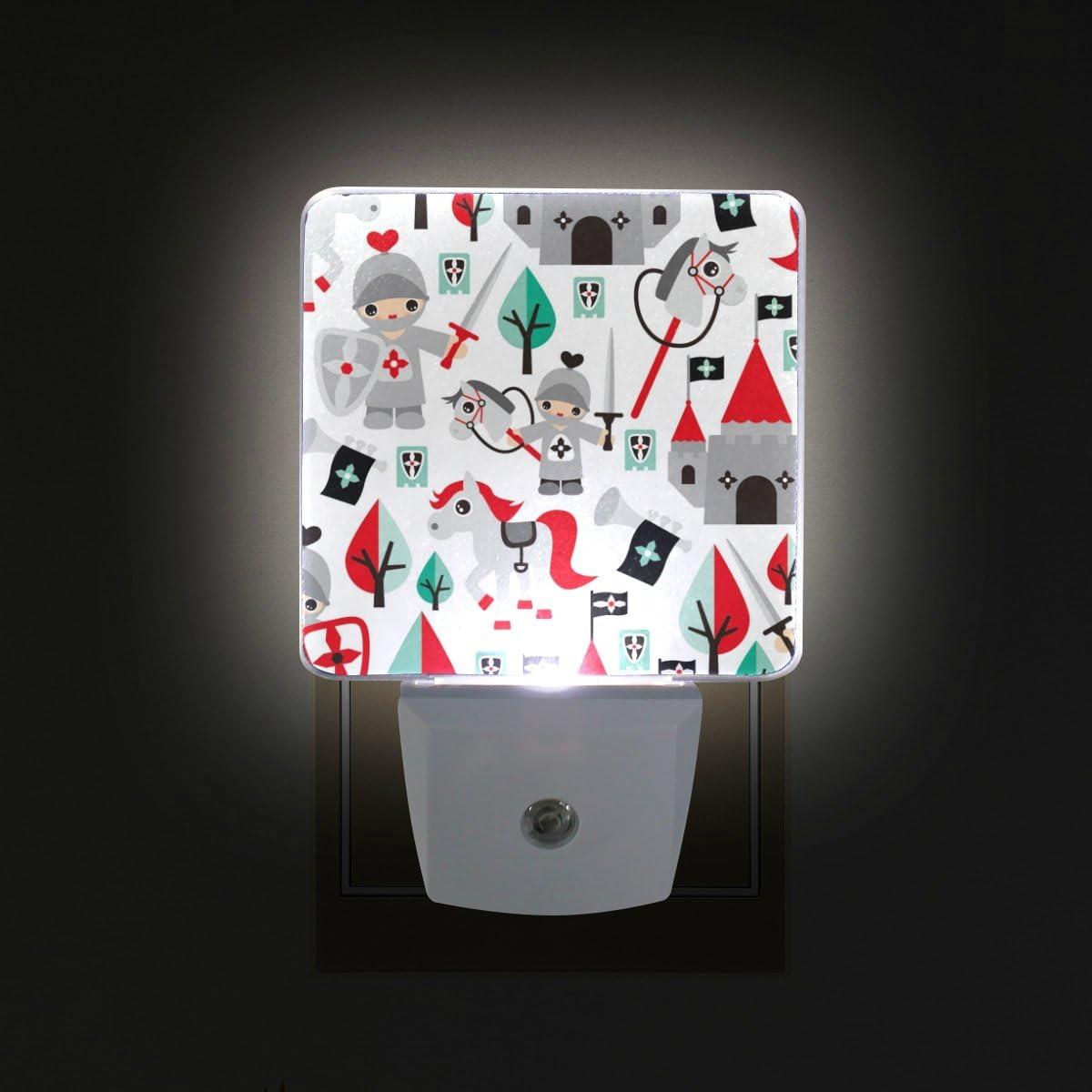 Luz nocturna LED, diseño de caballo de castillo, sensor de auto para niños, de atardecer a amanecer, enchufe – 2 unidades