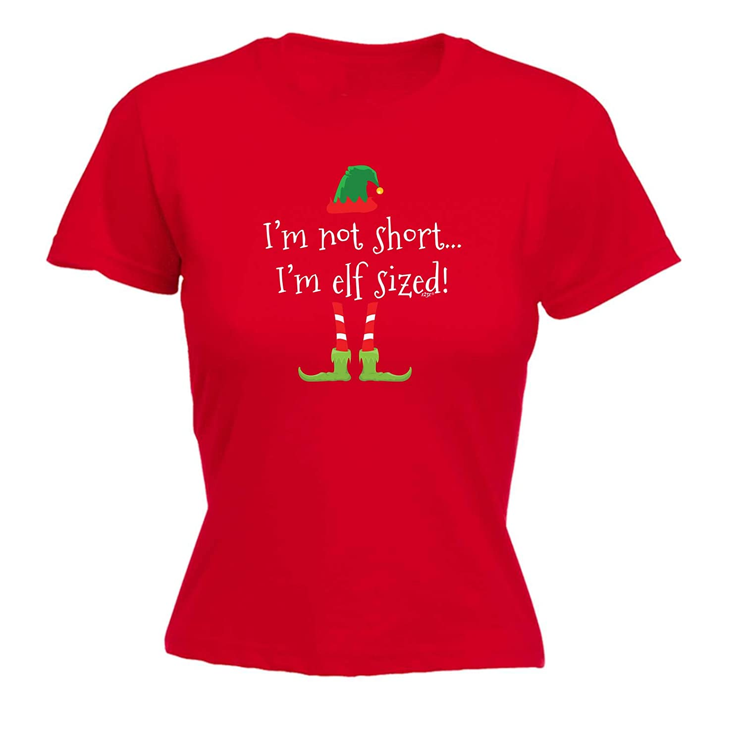 81f6e74a 123t Funny Tee - Elf Sized - Womens Fitted Cotton T-Shirt Top T Shirt:  Amazon.co.uk: Clothing