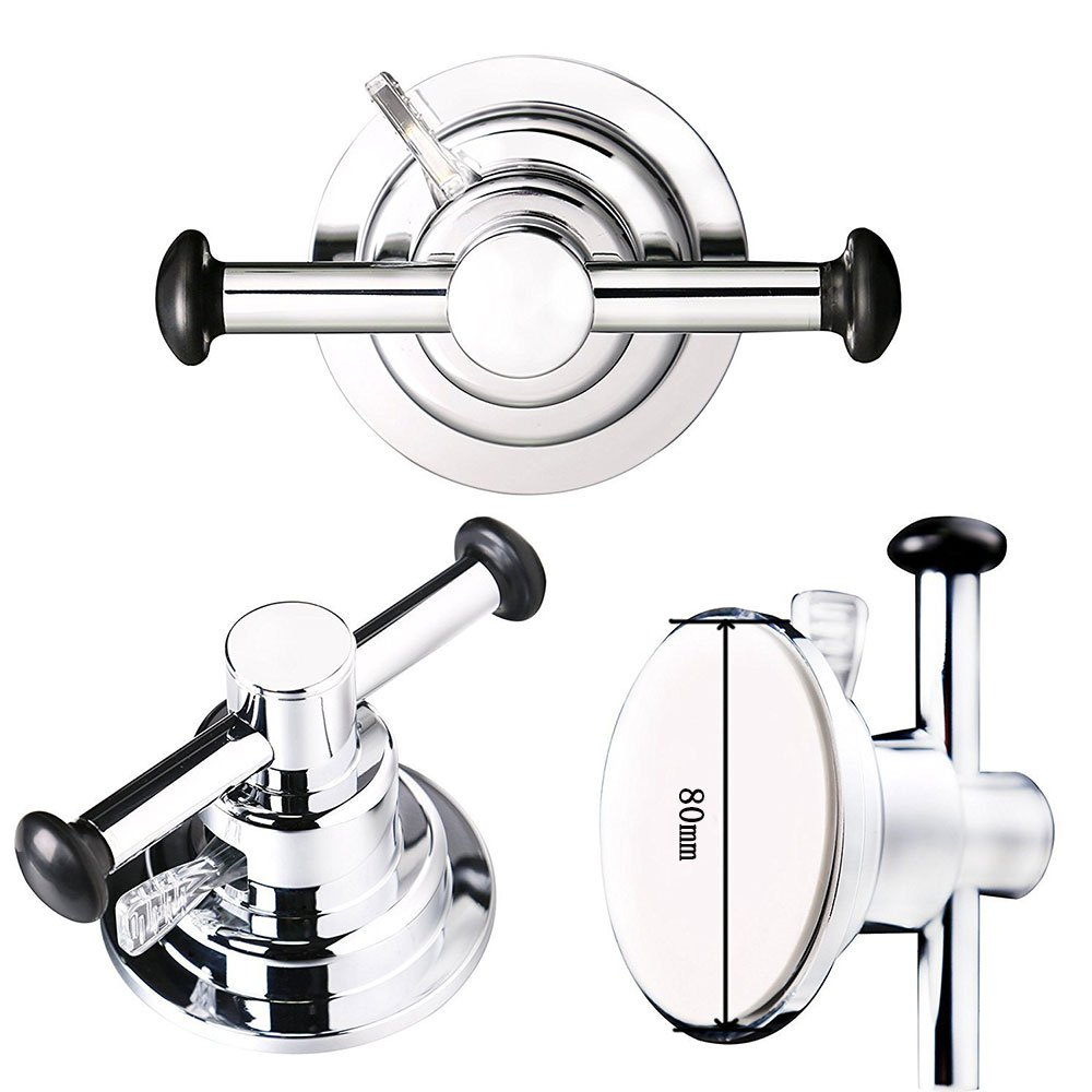 BOPai Large Suction Cup Sided Hooks - Strong Suction for Holder Towel Bathrobe Washrag Loofah Bag.Premium Chrome by BOPai (Image #4)