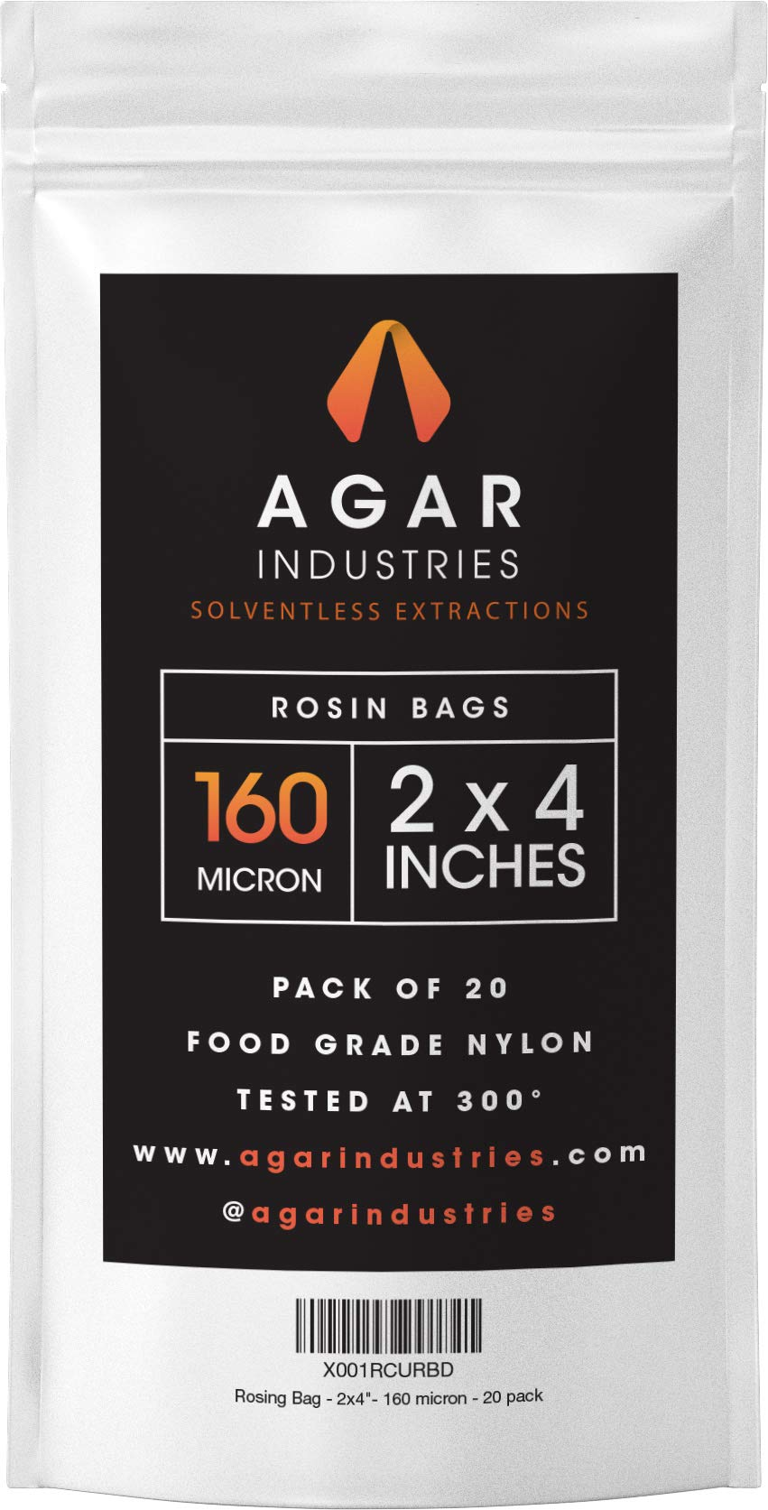 Agar Industries - Rosin Press Filter Bag -Screens for Solventeless Oil Extractions in Rosin Tech (20 pack, 2x4 in. 160 micron)