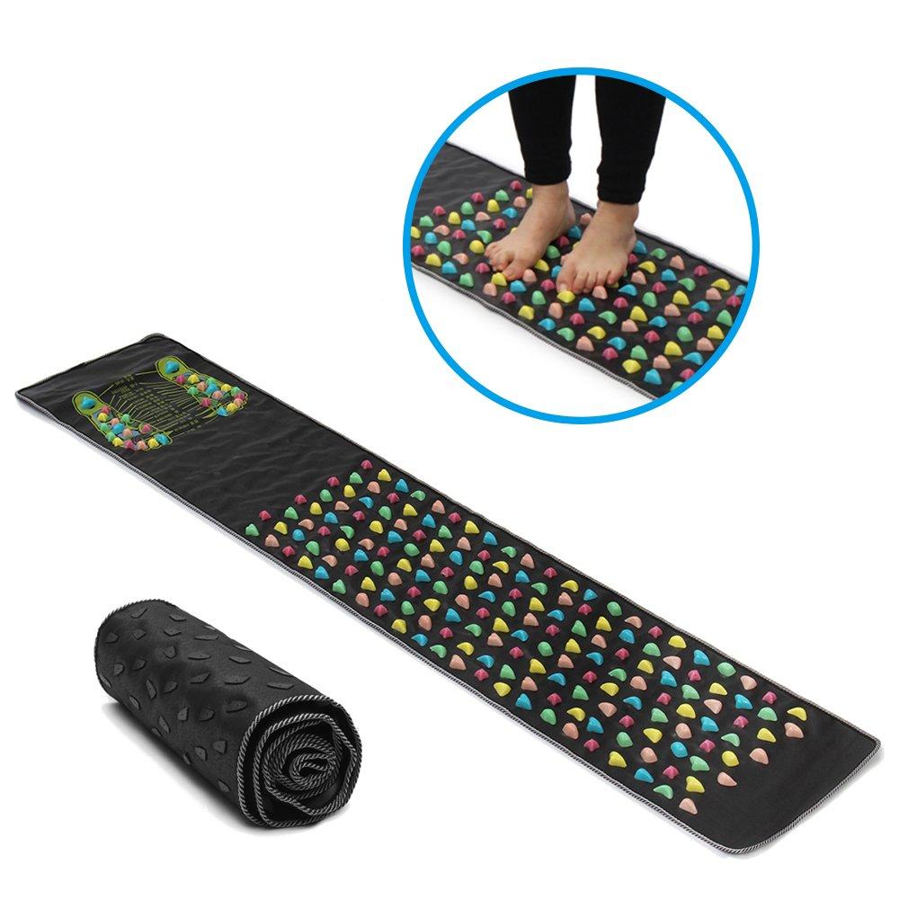 Enshey Foot Massage Mat Walk Reflexology Massager Acupoint Mat Acupressure Mat for Pain Foot Ache Relieve Nerve Relaxes Muscle Massage at Home and Office(68.9''*13.8'')